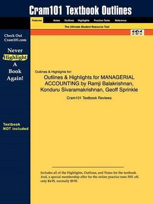 Studyguide for Managerial Accounting by Balakrishnan, Ramji,ISBN9780471467854