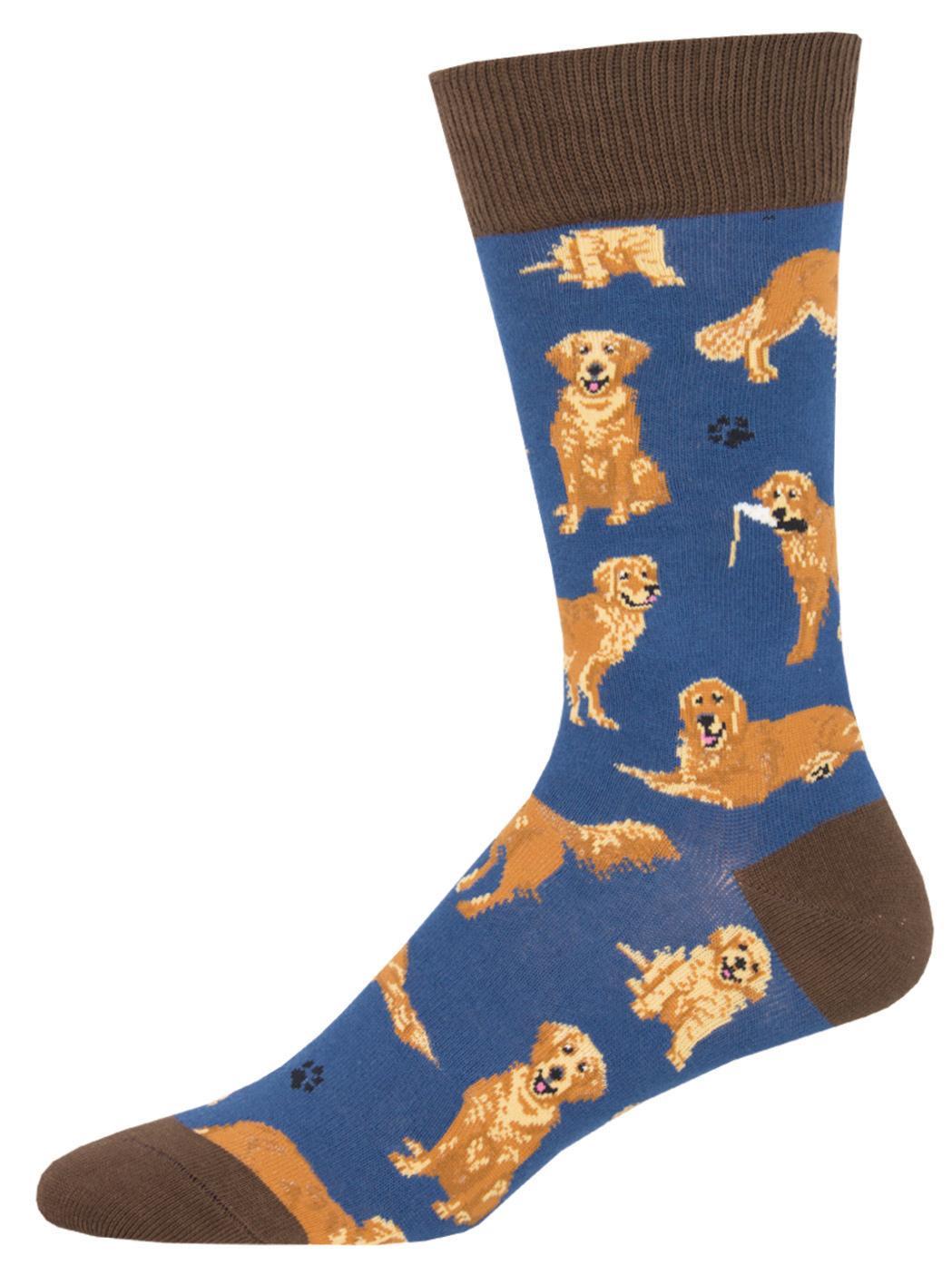 Mens Socks - Golden Retriever Blue(Size10-13)