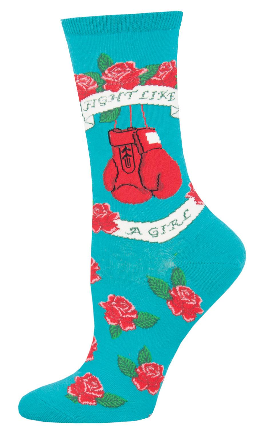 Ladies Socks - Fight Like A Girl Teal (Size 9-11)