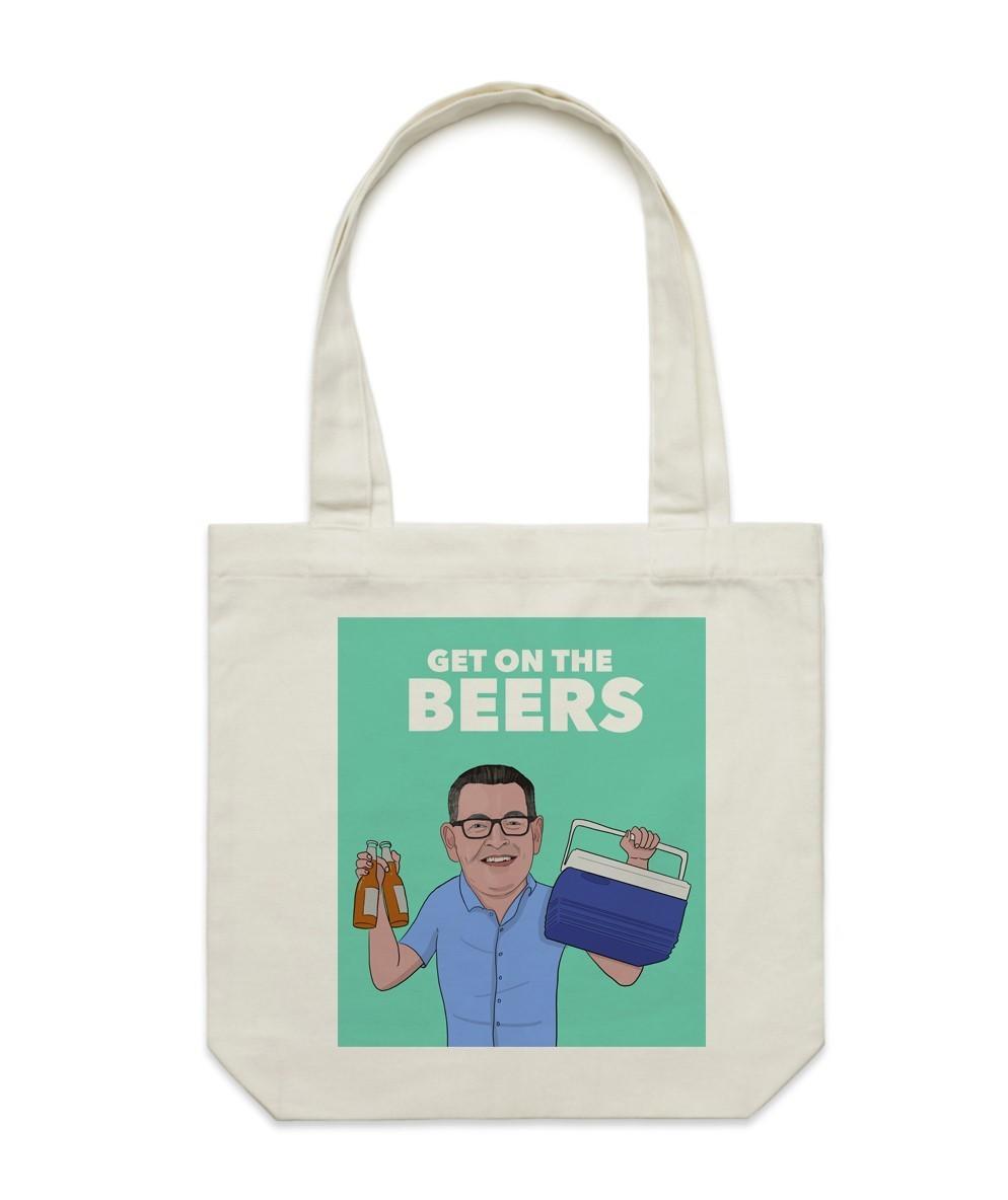 Dan Andrews Get On The Beers Cream Tote