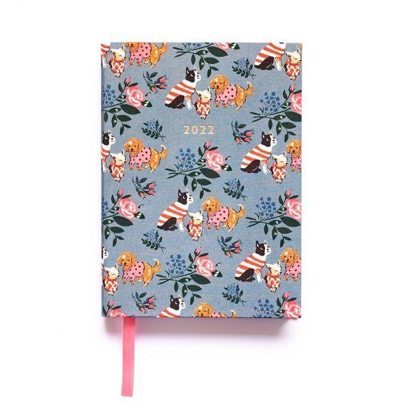 Cath Kidston A6 Linen Blue Floral Dogs Weekly 2022 Diary