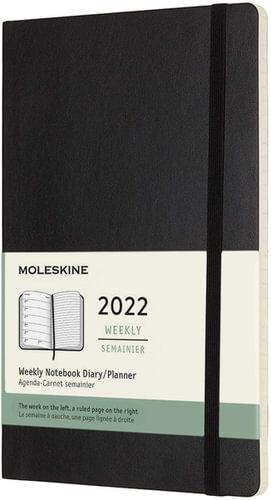 Soft Cover Large Weekly Notebook Black 2022 Diary