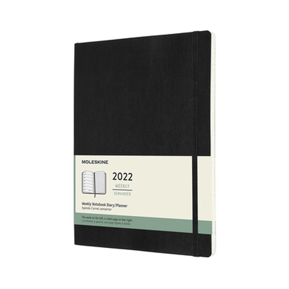 Soft Cover Extra Large Weekly Notebook Black 2022 Diary