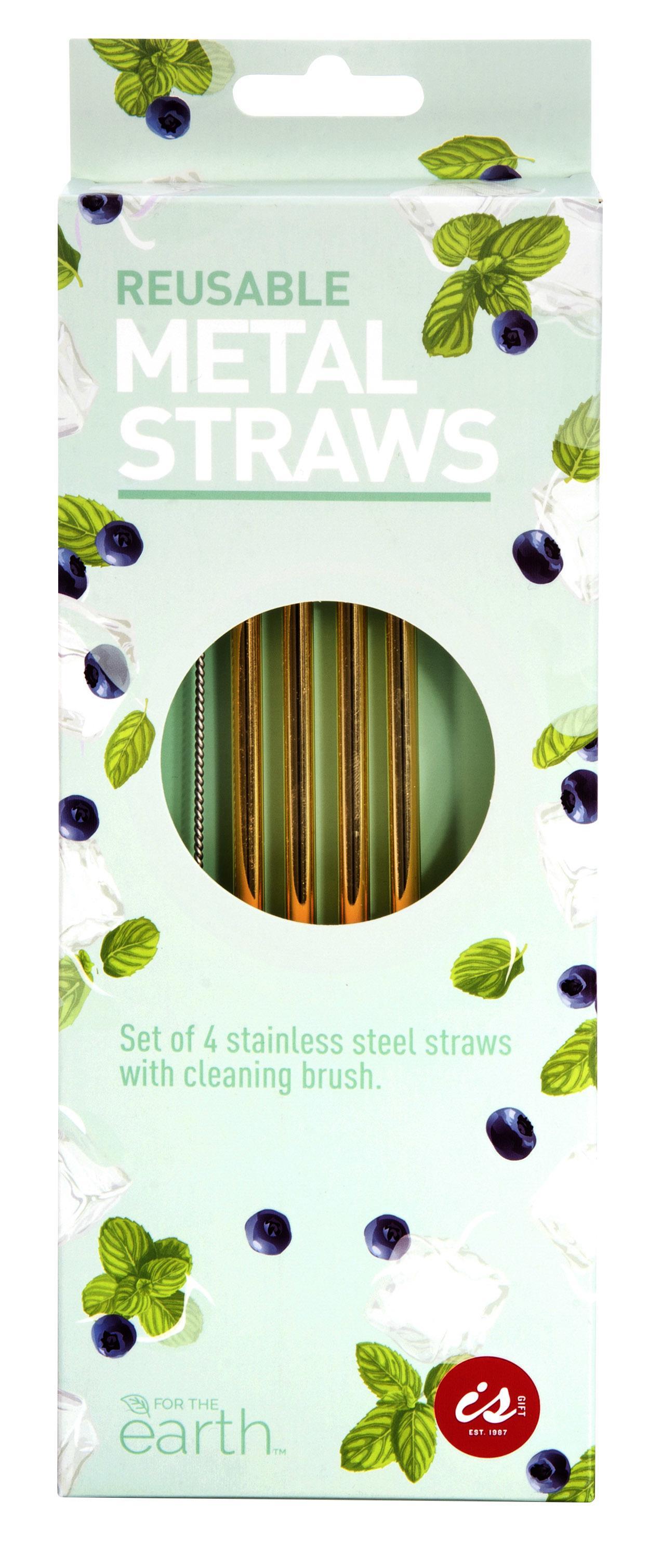 Reusable Metal Straws - MetallicsSet4